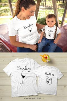 Mother and Son Matching Outfits Mommy and Me Drinking Buddies Mommy and Baby Drinking Buddies matching shirt - Cute Adorable Baby Outfits Mommy Baby Matching Outfits, Mom And Son Outfits, Baby Boy Outfits, Kids Outfits, Mom And Me Shirts, Baby Shirts, Aunt And Niece Shirts, Unique Baby Clothes, Winter Baby Clothes