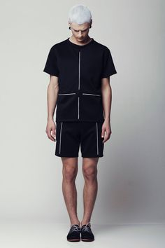 Mens shirt - Mens black shirt by Eliran Nargassi has a relaxed / oversized silhouette. Crafted in a high quality scuba fabric (a lighter version