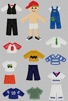 Machine Embroidery Designs - Boy PaperDolls Collection