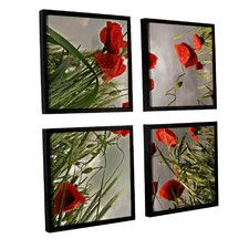 'Square Composition with Poppies' by Floriana Barbu 4 Piece Framed Photographic Print Set