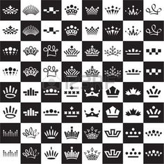 chess game: Set of abstract crown icon designs