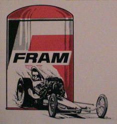 Original Vintage 1960/'s 70/'s Racing Decal//Sticker NHRA FRAM FILTERS Dragster