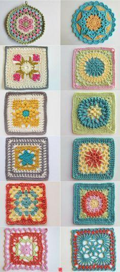 Granny squares patterns  ༺✿ƬⱤღ  https://www.pinterest.com/teretegui/✿༻