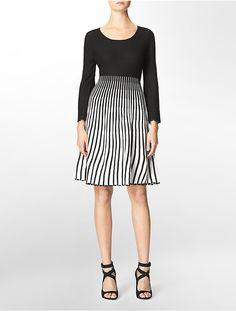 Striped Long Sleeve Sweater Dress - dress for pear body shape #pearbody