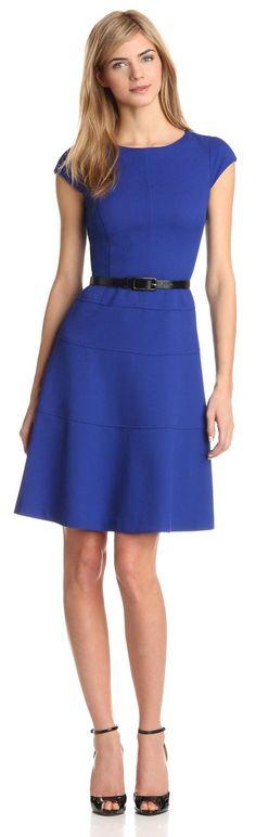 Anne Klein Women's Cap Sleeve Scoopneck Solid Dress