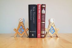 Masonic Bookends Candle Stick Holders Ceramic by YourGreatestStory