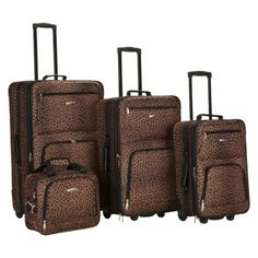 Rockland 4-Pc. Rolling Luggage Set - Leopard from Target.com....super cute!!!