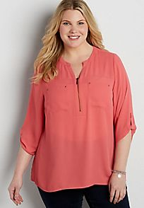 the perfect plus size blouse with zipper neckline