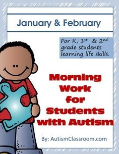 Morning Work for Students with Autism (January & February) #autism #morningwork #tasks