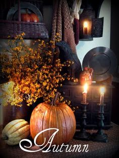 the glow of autumn - Halloween Autumn Day, Autumn Home, Autumn Leaves, Autumn Table, Autumn Nature, Primitive Fall, Autumn Decorating, Fall Harvest, Harvest Time