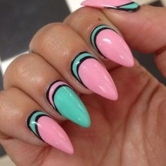 i'm not big on the pointy nails but this is fresh! pink nails mint nails nail design
