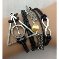 Angel wings Harry Potter retro leather bracelet ($5.99) ❤ liked on Polyvore featuring jewelry, bracelets, leather bracelet, angel wing jewelry, retro jewelry, bracelet jewelry and leather bangle