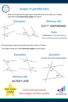 Angles in parallel lines summary. Add to your board to help revise it. Includes memory aids for corresponding and alternate angles. Gcse Maths Revision, Maths Exam, Kids Math Worksheets, Math Resources, Math Formula Chart, Act Math, Math Enrichment, Maths Solutions, Geometry