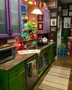 Good Friday morning and happy weekend!❤️❤️for color cha… Good Friday morning and happy weekend!❤️❤️for color challenge. Bohemian House, Bohemian Decor, Küchen Design, House Design, Interior Design, Boho Kitchen, Hippie Kitchen, Purple Kitchen, Rustic Kitchen