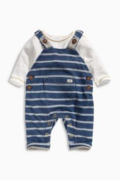 Buy Navy Stripe Dungarees Set (0mths-2yrs) from the Next UK online shop