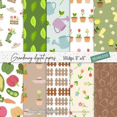 GardeningSeamlessDigital   Etsy Grass Clipart, Simple Collage, Embroidery Files, Collage Sheet, Background Patterns, Floral Flowers, Clip Art, Digital, Paper
