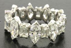Vintage 1950s heavy Platinum 5CT VS Marquise/Emerald diamond eternity band ring #Eternity
