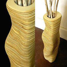 Stacked plywood vase