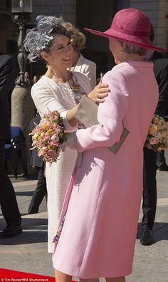 100th Anniversary of the 1915 Constitution, Tivoli Hotel, Copenhagen, June 5, 2015-Crown Princess Mary greets Princess Benedikte