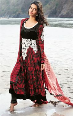 Picture of Ethereal Black and Red Designer Party Wear Salwar Kameez