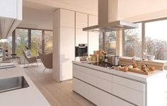 While the minimalist kitchen furniture of the brand may seem simple at first glance, typical features of a Bulthaup kitchen design are the clean lines Kitchen Design Open, Contemporary Kitchen Design, Kitchen Decor, Kitchen Handles, Contemporary Kitchen, Small Kitchen, Minimalist Kitchen Interiors, Kitchen Design, Minimalist Kitchen
