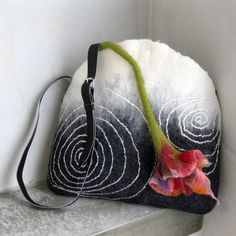 Handbag Hand Felted Leather Strap Black and White by avivaschwarz