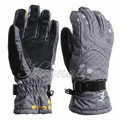 1Pair Waterproof 3D Draping Techniques 360degrees Gray Women Skiing Gloves