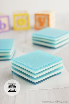 Baby Blue Layered Jello Dessert! This is so great for baby showers. Recipe from Taste and Tell