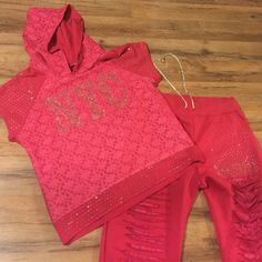 Hoodie w/sweatpants  NWOT 2 piece With lace and rhinestones stylish pants and hoodie pictures doesn't give justice %100 cotton label is XL but it fits like M/L BRAND NEW  THİS İS a 2 piece item DAI SHEK Tops Sweatshirts & Hoodies