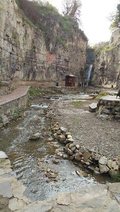 Georgia, Tbilisi, old tbilisi,  waterfall hidden  next to sulfur baths