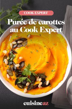 Cette purée de carottes, à réaliser au Cookeo, est une bonne idée d'accompagnement pour une viande. #recette #cuisine #cookeo #compagnon #puree #carotte #legumes C'est Bon, Cantaloupe, Robot, Fruit, Meat, Cooking Recipes, Carrots, Robots