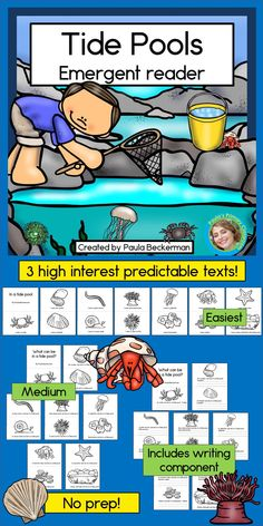 My kids will have fun learning about tide pools with these easy readers - I love the repetitive text and illustrations, and that there are 3 different reading levels included! Lots of favorite tide pool critters are covered too: hermit crabs, anemones, s Kindergarten Reading Activities, Pool Activities, Sight Word Activities, Pre-k Resources, Reading Resources, Science Resources, Emergent Readers, Tide Pools, Ocean Themes
