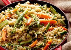 Frigideira de Arroz e Legumes com Curry Verde