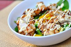 Just made this for lunch and it was DELICIOUS! Almond-crusted chicken salad with honey mustard dressing