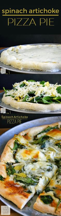 Spinach Artichoke Pizza Recipe | by Life Tastes Good is like eating one of your favorite dip recipes in pizza form! The crust is smothered in an easy-to-make, creamy white Gruyere cheese sauce and then topped with fresh spinach, marinated artichoke hearts, and even more cheese. This pizza smells so good while baking and tastes even better! #SundaySupper #GalloFamily