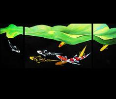 Modern Abstract Art Giclee Canvas Print of Original Painting Koi Fish