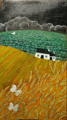 Poetic Landscapes by Valeriane Leblond Valériane Leblond is a Franco-quebecker painter and lives in Ceredigion, Wales. She mainly paints on wood and creates images of rural landscapes and coastal villages and their people at work. Landscape Quilts, Landscape Art, Landscape Paintings, Modern Paintings, Art Texture, Naive Art, Fabric Art, Textile Art, Amazing Art