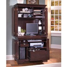 homestyles computer armoire in windsor cherry finish