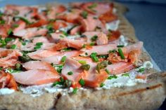 Pizza with salmon, olives and herbs #pizza #salmon #olives #recipes