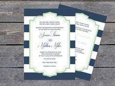 Navy & White Striped Mint Frame Printable Wedding Invitation PDF Templates