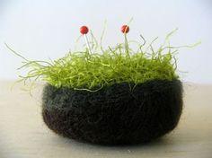 love this: mossy stone pincushion