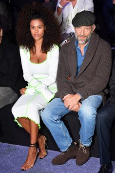 """WHERE: With Tina Kunakey at the ETAM show during Paris Fashion Week WHEN: September 2018 WHY: This layered outfit is very """"Guys, fall is here!"""", but Vincent Cassel's dope, DGAF energy makes it cool. Vincent Cassel, Celebrity Couples, Celebrity Style, Tina Kunakey, Best Dressed Man, Haute Couture Fashion, Gentleman Style, Mens Clothing Styles, Stylish Men"""