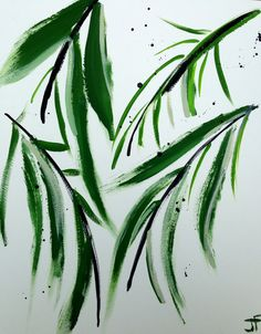 Abstract Painting Palm Tree Leaves 16x20 by JenniferFlanniganart, $85.00