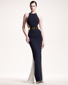 Belted Colorblock Gown by Stella McCartney at Neiman Marcus.