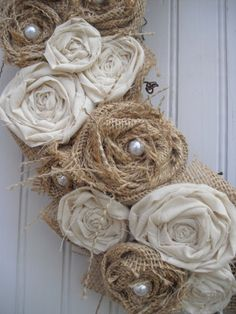 Burlap Wreath with Muslin & Pearls by ATPitman on Etsy, $40.00