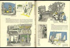 1951 August: South Bank Translated by Gordon Cullen | Archive Hierarchie tussen verschillende schalen + wat heeft een mens nodig: kleine straten, steegjes, lanen,... naast de basisbehoeften (eten, drinken, sex,...)