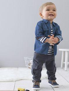 Chemise bébé garçon chambray, Bébé - vertbaudet
