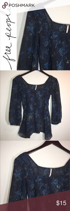 Sheer Free People Top ✔️Sheer ✔️Elastic Bodice ✔️Peplum Style ✔️No Holes, Stains or Damages Free People Tops