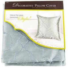 """Blue 18"""" x 18"""" Faux Silk Embroidered Pillow Cover"""