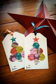 Christmas Gift Tag this would be awesome with digi scrap papers! #hybridcrafts